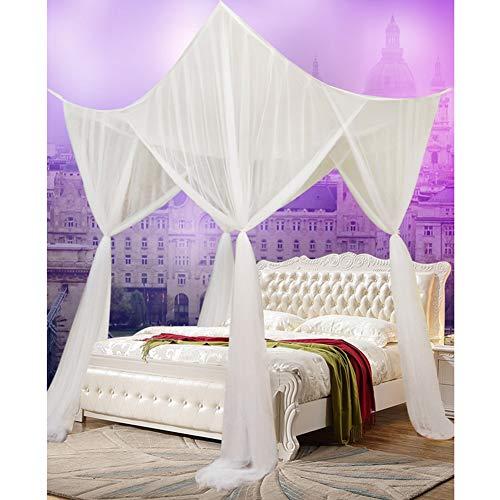 Lulalula - Zanzariera a baldacchino, 4 angoli, tinta unita, tenda extra large per letto e portico, facile da installare con i migliori fori, senza sostanze chimiche aggiunte