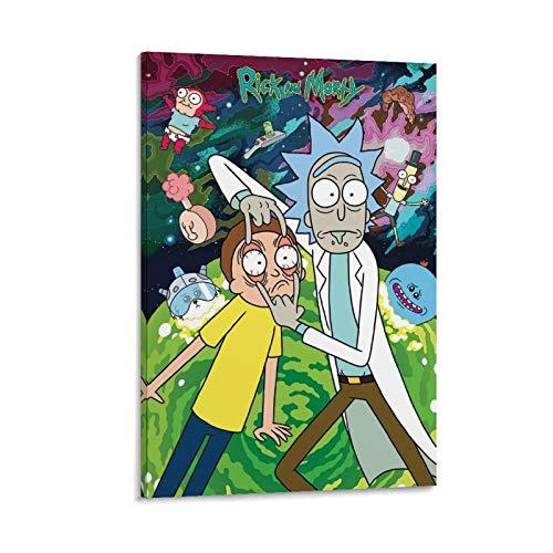 HAIMIAN Anime Rick And Morty Posters estético Impresión sobre lienzo y moderna decoración de pared familiar 50 x 75 cm