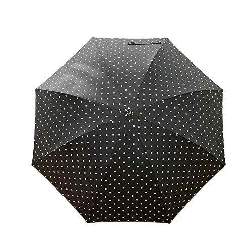 CROW Paraguas de Mango Largo con Gancho Curvo, Protector Solar de plástico Negro, Paraguas Recto Resistente al Viento y a la Lluvia, Paraguas Universal Femenino, Paraguas de Uso común-Black