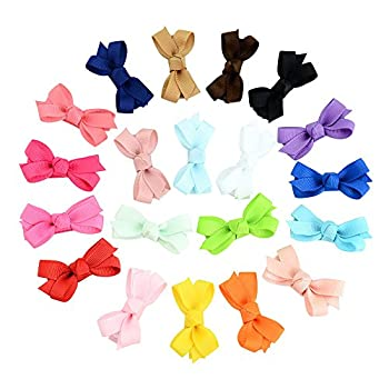 20PCS 2 Inch Baby Girls Snap Hair Bow Clips Fully Lined Ribbon Barrettes for Infants Toddlers by JIAHANG  COLOR A