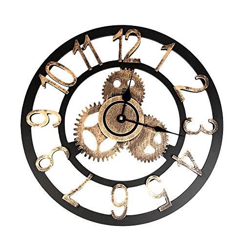 Muium 2019 Creativo Reloj de Pared Decoración Industrial del hogar de la Pared Reloj del Engranaje de Steampunk del Industrial Vintage con Dos tamaños (Oro, L)
