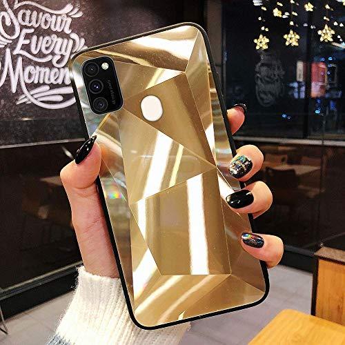 Uposao Kompatibel mit Samsung Galaxy M30S Hülle Spiegel Schutzhülle Bling Glänzend Glitzer Kristall Strass TPU Silikon Handyhülle Weiche Silikon Rückseite Glitzer Hülle Case Tasche,Gold