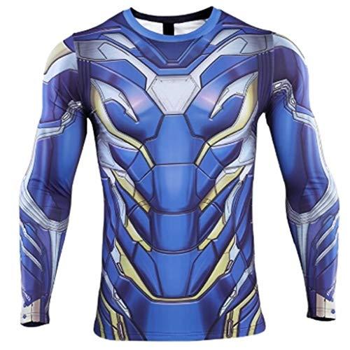 New Movie T-Shirt de Compression Superhéros Manches Longues - Bleu - Large