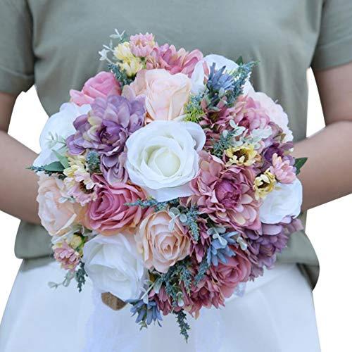 FLOWERSMY Novia Sosteniendo Flores Nuevo Romántico Rose Boda Ramo de Novia, 02, 25 * 30cm