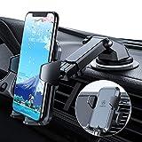 【2020年独自設計版】車載ホルダー VANMASS スマホホルダー 車 スマホスタンド 卓上 携帯ホルダー 安定感満点 特許取得 片手操作 素材上質 ワンタッチ 万能ホルダー 安全運転 RoHS国際認証 iPhone/Samsung/Sony/LG/HUAWEIなどスマホに対応 粘着ゲル吸盤&吹き出し口式兼用(ダークグレー)