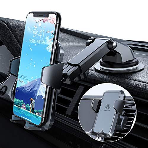 【2020年独自設計版】車載ホルダー VANMASS スマホホルダー 車 スマホスタンド 卓上 携帯ホルダー 安定感満点 特許取得 片手操作 素材上質 ワンタッチ 万能ホルダー 安全運転 RoHS国際認証 iPhone/Samsung/Sony/LG/HU