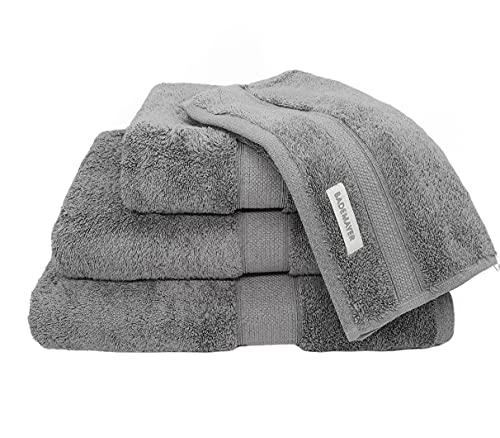 Bademayer Prestige Fusselfreis Frottier XL Badetuch Handtuch Duschtuch Gästetuch - 4er Set aus 100% Ägyptischer Gekämmter Baumwolle - 600 g/m² (Schiefer-Grau)