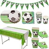 Amycute Calcio Festa di Compleanno Festa a Tema, Coppa del Mondo Calcio Piatti di Carta, Bicchieri, Tovaglioli, Tovaglia, Forniture per Feste di Calcio