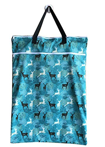 MUMBABY 1 Piece Large Hanging Wet/Dry Cloth Diaper Pail Bags for Reusable Diapers or Laundry (64 * 45, Blue Deer)