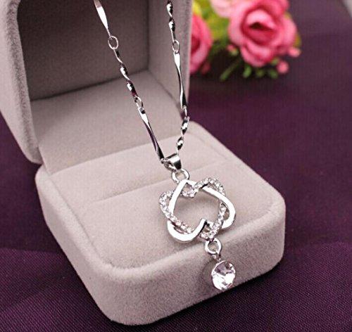 Hemlock Jewelry Necklace Women, Womens Heart Pendant Necklace Rose Gold Silver Necklace Jewelry Gifts (Silver)
