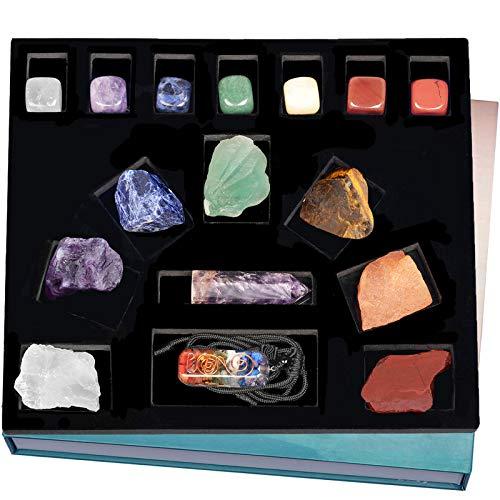 Nupuyai Natural Stone Chakra Starter Kit, 7 Raw Chakra Stones, Polished Tumbled Stones, Amethyst Crystal Wand, Spiral Pendant Necklace, Healing Crystal Set for Reiki Balancing Meditation