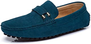 ZiWen Lu Men's Loafers Slip on Driving Moccasin Suede Leather Fashion Buckle Slippers Penny Boat Shoes (Color : Blue, Size : 8 UK)