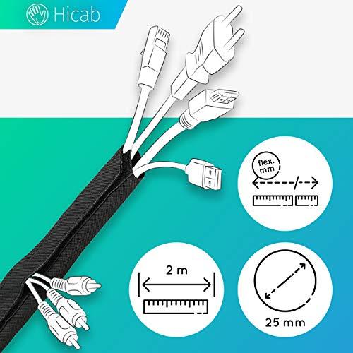 Hicab 2 m Kabelschlauch mit Klettverschluss: schwarz, flexibel zuschneidbar. Einfaches Kabelmanagement und Schutz im Buero an Schreibtisch, PC/Computer sowie Heimkino/TV. Cable/Gewebeschlauch
