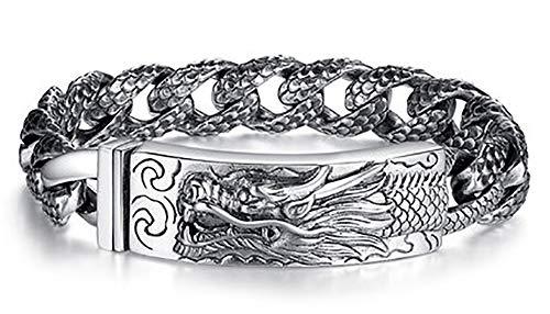 Pulsera de plata de ley S925 para hombre, diseño de dragón dominante, estilo retro, chino, estilo hip hop, punk, regalo, 123, color, 18 cm