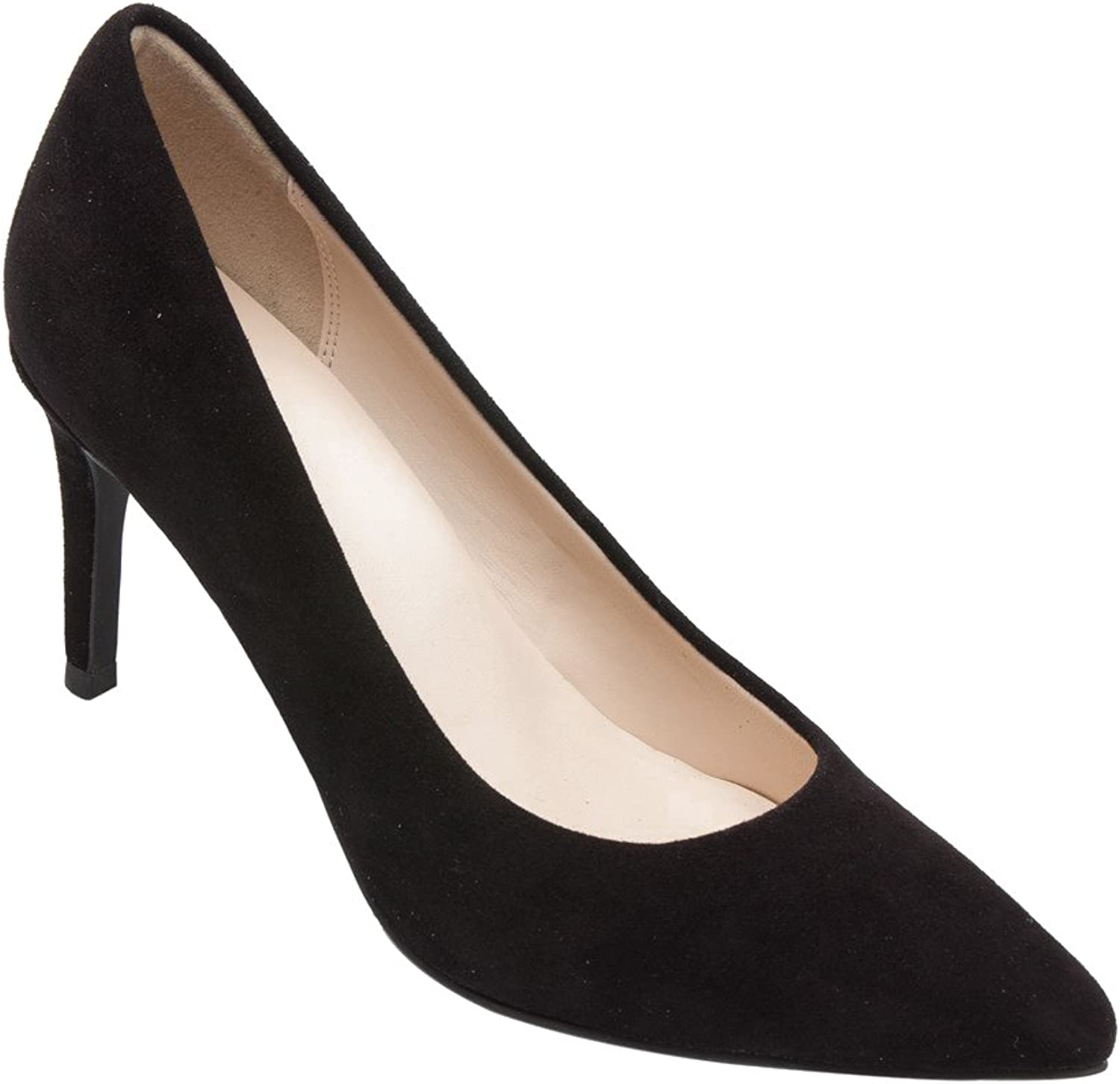 PIC PAY Lucia - Women's Pointy Toe Pumps - Elegant Suede Leather Stiletto High Heel shoes Black Suede 7.5M