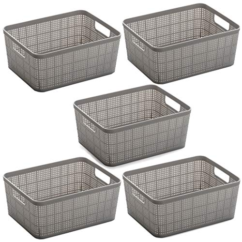 BINO Woven Plastic Storage Basket (5PK- S, Light Grey)