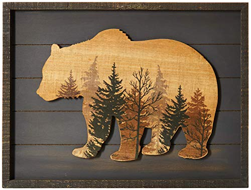 "NIKKY HOME Cute Bear in The Forest Decorative Wood Framed Wall Art Prints Cabin Decor, 16"" x 12"", Gray"