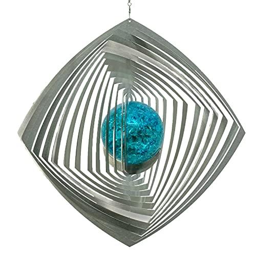 Illumino Edelstahl Windspiel Molino mit türkiser 70mm Glaskugel Metall Windspiel für Garten und Wohnung Gartendeko Wohn und Fenster Deko