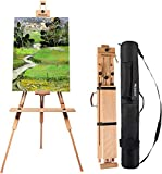 MEEDEN Tripod Field Painting Easel - Universal Tripod Easel Adjustable Portable Painting Easel Stand Beech Wood Artist Easel, for Painters, Students, and Landscape Artists, Hold Canvas Art up to 44'