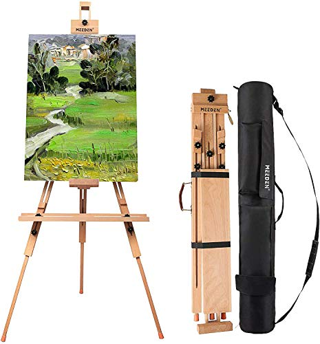 MEEDEN Tripod Field Painting Easel with Carrying Case - Solid Beech Wood Universal Tripod Easel Portable Painting Artist Easel, Perfect for Painters Students, Landscape Artists, Hold Canvas up to 44'