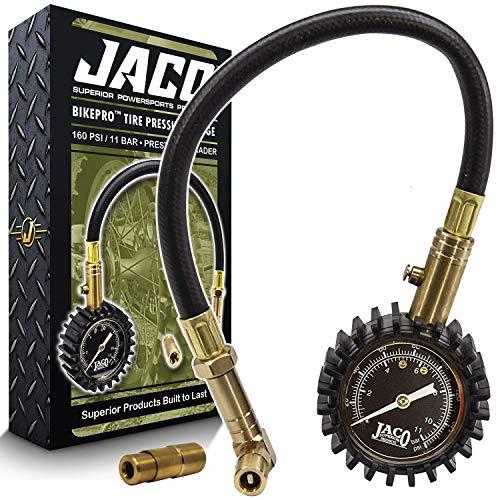 JACO BikePro Presta Tire Pressure Gauge 160 PSI - with Interchangeable Presta and Schrader Valve Air Chucks - for Hybrid & Road Bikes
