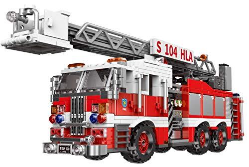Modbrix Bausteine Feuerwehr USA Feuerwehrauto mit Drehleiter, 711 Klemmbausteine