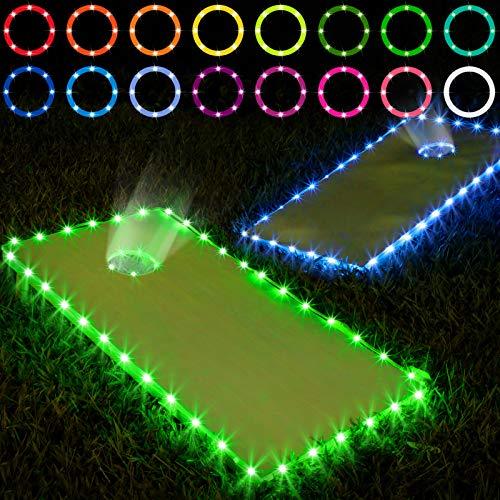 Frienda Cornhole Lights, 16 Colors Change Cornhole Board Edge and Ring LED Lights with Remote Control for Family Backyard Bean Bag Toss Cornhole Game, 2 Set (4