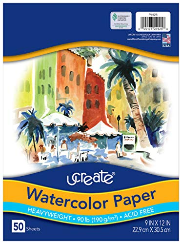 UCreate Watercolor Paper, White, Package, 90lb., 9' x 12', 50 Sheets