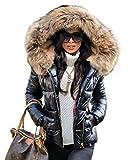 Aox Donne Inverno Faux Fur Cappuccio Giù Cappotto Signora Addensare Puffer Slim Zipper Giacca Parka Nero 42