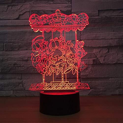 Luz de noche 3d Luces estéreo 3d Carrusel Decoración creativa Lámpara de personalidad LED Luz nocturna Lámparas de noche con baterías Luz 3D 7 colores Regalo