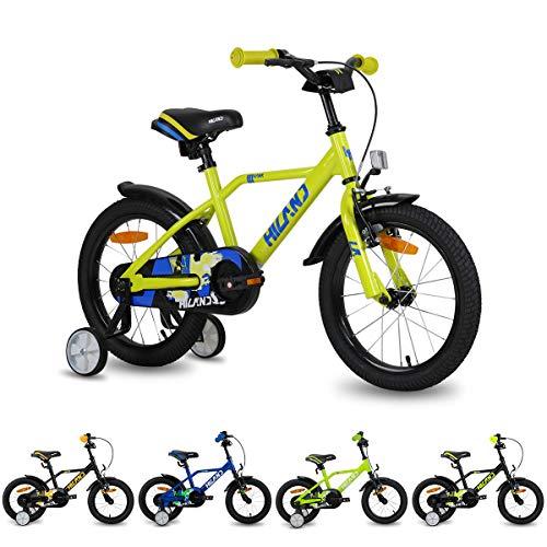 Hiland Bicicleta infantil para niños y niñas, 2 + años, rueda de apoyo espacial de 12 pulgadas