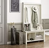 Itaar Entryway Hall Tree with Storage Shoe Bench, Industrial 3-in-1 Entryway Shoe Bench with Coat Rack, Storage Shelf Organizer, Entryway Tree Coat Hanger for Living Room, Mudroom White, Wood