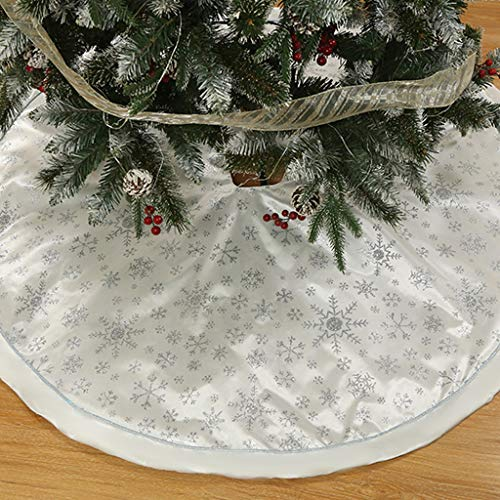 Weihnachtsbaum Decke, Rentier Gedruckt Weihnachtsbaum Rock Dekoration Schneeflocken Weihnachtsbaumdecke Elch Weihnachtsbaum Röcke Weihnachtsschmuck Weihnachtsbaum Deko Weihnachtsdeko (Weiß, 120cm)