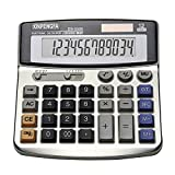XINPENGFA Office Calculator, Solar and Battery Dual Power, Metal Surface 12 Digit Calculators Large Display Big LCD,and Large Button