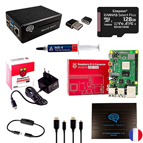 TECHNO CRAFT, Raspberry pi 4 8 GB, Kit Raspberry pi 4 Modelo B, tarjeta Micro SD Clase 10 128 GB, alimentación oficial Raspberry Pi4, carcasa de aluminio 4 disipadores negro Kit completo