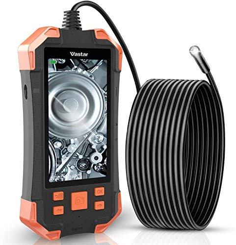 Vastar Endoscopio Industriale, Endoscopio per Tubi, 1080P HD Telecamera Ispezione, 4.3 Pollici Schermo LCD a Colori 6 LED, Telecamera Impermeabile Ricaricabile, Cavo Semirigido (5 M)
