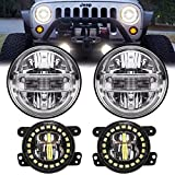 AUDEXEN 7 Inch Led Headlights with DRL High Low Beam + 4 Inch Cree Led Fog Lights with Halo Ring/Fog Light Projector Compatible with Jeep Wrangler JK JKU TJ LJ 1997-2018, Chrome
