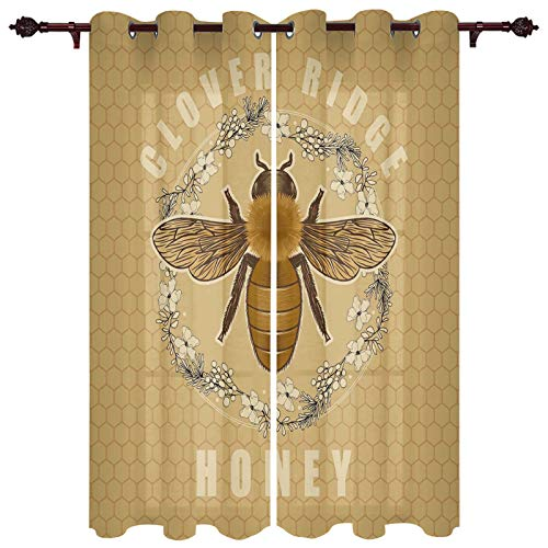 Luxurious Window Treatment Drapes for Nursery Clover Ridge Honey Retro Bee and Garland Honeycomb Background Grommet Top Curtain Panels for Sliding Patio Door Kitchen Window 40'x63'x2 Panels