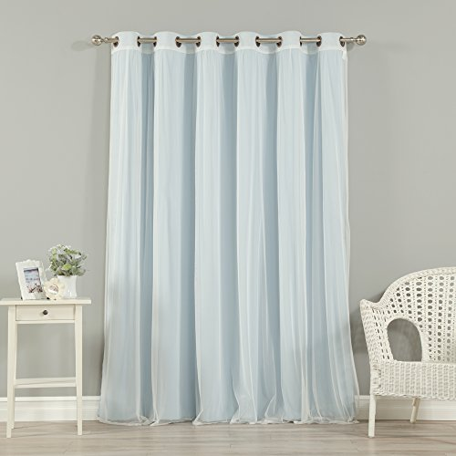 """Best Home Fashion uMIXm Wide Width Tulle Lace & Solid Blackout Curtain Set – Antique Bronze Grommet Top – Sky Blue – 80"""" W x 96"""" L – (1 Blackout Panel and 1 Sheer Panel)"""