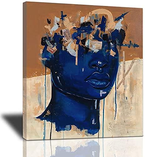 Domrx Wandkunst Malerei Schwarze Frau Mode Poster Leinwand Graffiti Abstrakt Modern Home Prints Bild Gestreckt Und Gerahmt 50x70cm/19,7' x27,6 Innerer Rahmen