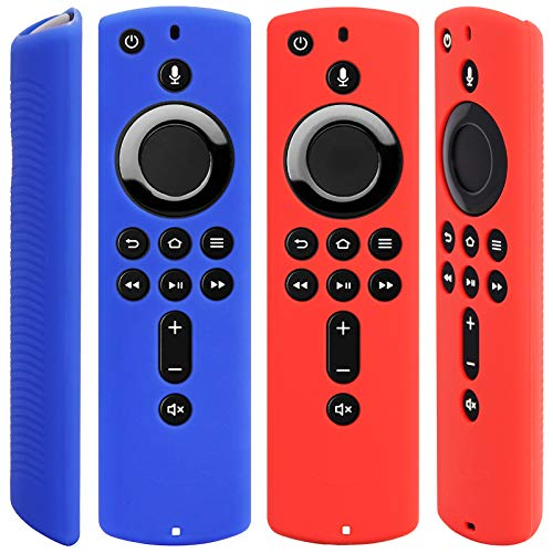 [2 Pack] Silicone Cover Case for Fire TV Stick 4K / Fire TV (3rd Gen) Compatible with All-New 2nd Gen Alexa Voice Remote Control (Red and Blue)