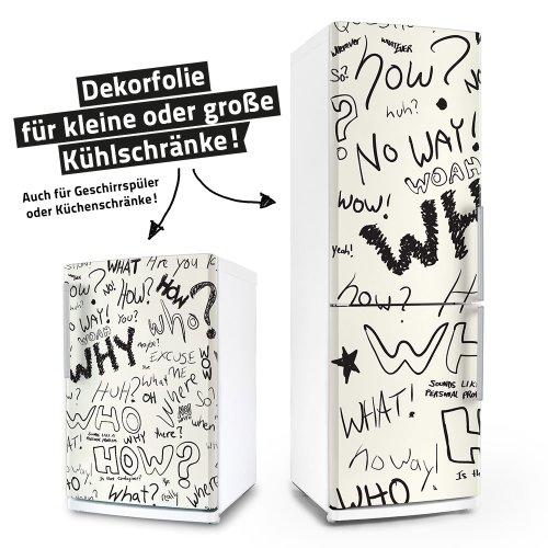 posterdeluxe Kühlschrank- / Spülmaschinen-Aufkleber - Question - Geschirrspüler Folie Dekorfolie Klebefolie
