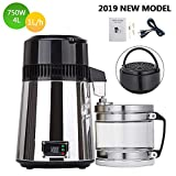 SURPCOS Countertop Stainless Steel Water Distiller, 750WPure Water Machine Purifier Filter with Handle 4L Glass Container Digital Display Screen Water Making Machine for Home Use