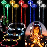 10 Pieces LED Hair Barrettes Flashing Optic Braid Dancing Hairpin and 5 Pieces LED Flower Crowns Light up Flower Headbands Wreath Headband for Valentine's Day Wedding Birthday Party Girls Women