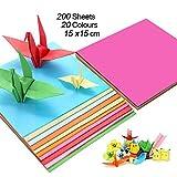 Papel de origami de colores (200 hojas), papel de color (70 gm), 20 colores surtidos, cuadrícula de doble cara (15 x 15 cm), kit de papel de origami para proyectos de arte y manualidades.