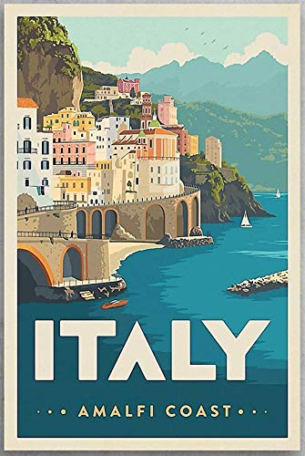 Italy Amalfi Coast Background City Beach Poster Gift Poster Living Room, Bedroom(12''x18'', 16''x24'' and 24''x36'')
