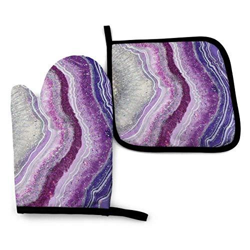 Lila Geode Achat Juwel Geode Achat Kristall Steinofen Handschuhe und Topflappen Set, Weiches Baumwollfutter mit Rutschfester Oberfläche, Hitzebeständigkeit