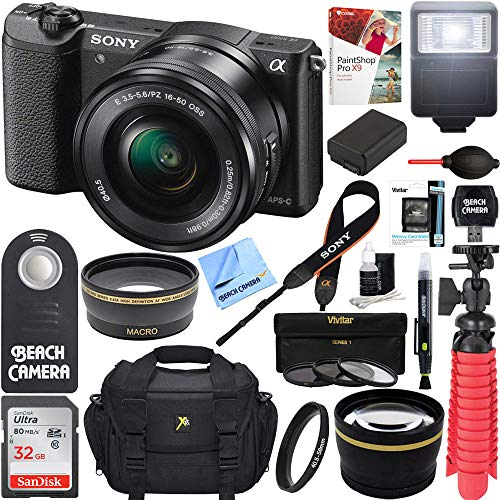 Sony Alpha a5100 HD 1080p Mirrorless Digital Camera Black + 16-50mm Lens Kit + Lexar 32GB Memory Card + DSLR Photo Bag + Extra Battery + Wide Angle Lens + 2X Telephoto Lens + Flash + Remote + Tripod