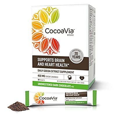 CocoaVia Brain & Heart Supplement, Unsweetened Dark Chocolate Flavor, Powdered Mix, 450mg Cocoa Flavanols, 30-Day Supply