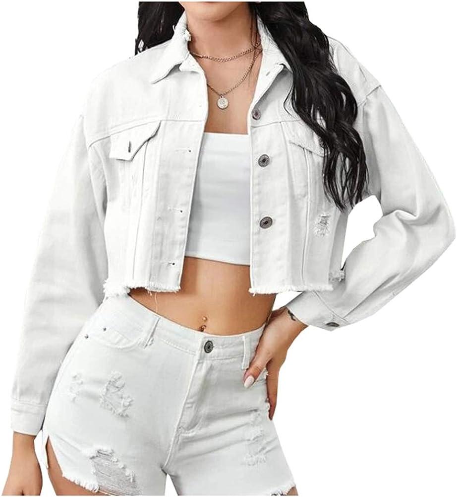 Ladyful Women's Classic Ripped Cropped Denim Jean Jacket Coat Outerwear
